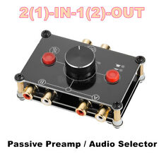 Mini 2-Way Stereo L/R RCA Audio Selector Passive Preamp Switcher Splitter Box