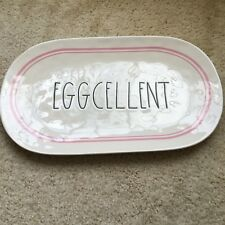 Rae Dunn Magenta EGGCELLENT Easter Serving Tray LARGE Oval Platter PINK TRIM