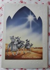 Vintage 1940s Christmas Card Three Kings Wise Men Following Star of Bethlehem