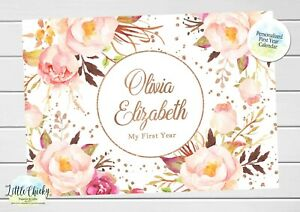 Rose Gold Floral Baby's First Year Calendar, Personalized Calendar for baby
