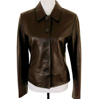 HAROLDS Soft Leather Jacket Blazer Womens Brown Size Medium Button Front