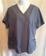 SCRUB STAR Scrub Top Womans Size XL Gray/Green Trim Nurse CNA Dental Vet EUC