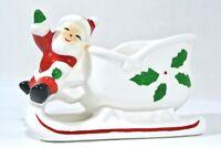 Vintage MCM Christmas Santa Claus Sleigh Ceramic Planter Candy Kitsch Japan