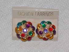 Vintage New Old Stock Multi-Colored Bling Stones Round Fashion Clip On Earrings