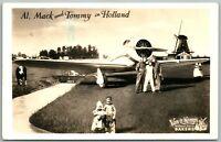AVIATION HOLLAND VINTAGE REAL PHOTO POSTCARD RPPC PHOTOMONTAGE airplane on farm