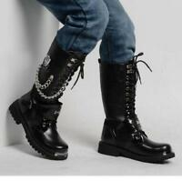 Black Chain decor Combat Buckle Strap Lace Up Men Military Knee High Boots Shoes