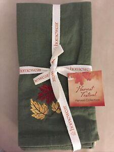 "Homewear Home Napkin Harvest Festival Set of 4 18"" x 18"" Napkins Fall New"