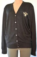 DOLCE & GABBANA BEADED BEE CASHMERE KNITTED CARDIGAN SWEATER SIZE 46