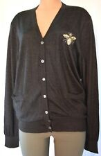 8a54655c685989 DOLCE   GABBANA BEADED BEE CASHMERE KNITTED CARDIGAN SWEATER SIZE 46