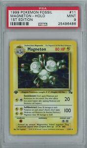 1st Edition Magneton Fossil HOLO 11/62 Pokemon Card - PSA 9