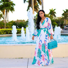 Womens Sexy Long Sleeve Floral Long Dress Deep V Neck Print Maxi Cocktail Dress