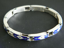 VINTAGE RARE GES GESCH ENAMEL AND 800 SILVER GILT HALLMARKED STRETCH BRACELET
