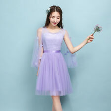 Sexy Women's Purple Bridesmaid Ball Gown Evening Prom Party Wedding Short Dress