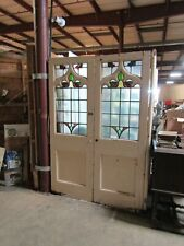Antique English Victorian Gothic Pine Glass Double Doors
