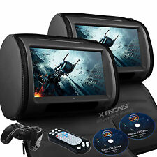 "Black 2X Car Headrest DVD USB SD Player Zipper Cover 9"" Touch Game Disc Handle"