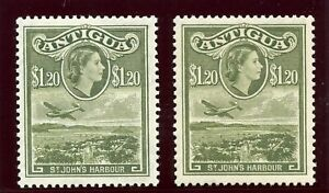 Antigua 1953 QEII $1.20 in two listed shades superb MNH. SG 132, 132a.