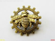 steampunk brooch badge pin bumble honey bee apiarist cog gearwheel Manchester