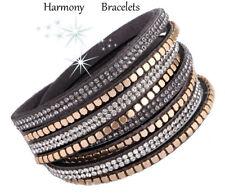 Grey Swarovski Elements Wrap Glitz Bracelet by Harmony Bracelets