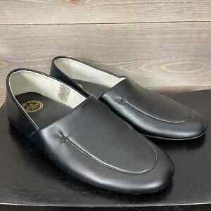 LB Evans Men's 9 Leather Slippers Duke Opera Black Loafer Shoe Padded Comfort