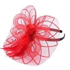 Flower Feather Fascinator Headband Hat Wedding Prom Ladies, Red Z3V4
