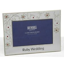 Ruby 40th Wedding Anniversary Diamante and Flower Photo Frame Gift