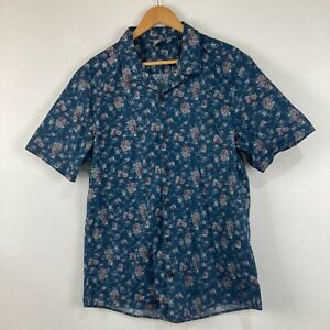 Asos Mens Button Up Shirt Size XL Extra Large Blue Floral Short Sleeve Collared