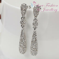 18K White Gold Plated Simulated Diamonds Studded Water Drop Dangling Earrings