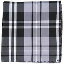 New Men's Polyester Woven pocket square hankie only black grey white plaid