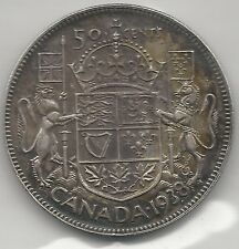 CANADA,  1938,  50 CENTS,  SILVER, KM#36, CHOICE EXTRA FINE+