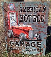 American Hot Rod Vintage Tin Metal Sign Poster Classic Car Garage Shop