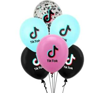 6PCS TIK TOK LATEX BALLOONS MUSIC PARTY TEEN BIRTHDAY