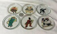 *Set 6 Mid Century Bar Art Glass Coasters w Decals fun barware drink coasters