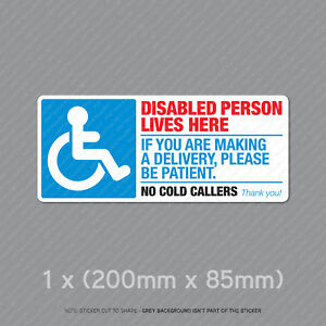 Disabled Person Be Patient - Front Door Letter Box Sign / Sticker - SKU5324