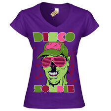 Disco zombie T-Shirt Party RaveT-Shirt Womens Ladies V-Neck