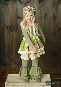NWT Mustard pie Fall 2017 Jeweled Forest 3 piece set size 4t