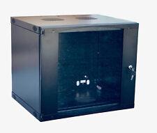 Raising 9U Wall Mount Network Server Cabinet Rack Tempered glass Door Lock