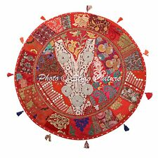 """32"""" Round Patchwork Embroidered Pouf Cover Red Cotton Floor Cushion Cover"""