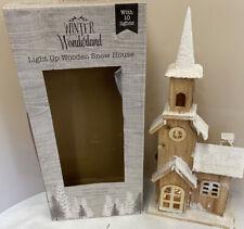 Winter Wonderland Light Up Wooden Snow House - Battery Operated (D5)