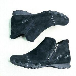 SKECHERS Women's Biker Ankle Boots Suede Earthy Chic Black