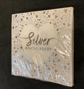 16 x Silver Wedding 25th Anniversary Napkins Serviettes Shiny Foil Finish