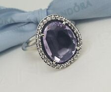 Authentic Genuine Pandora Amethyst Cocktail Ring - Size 50 - 190893AM