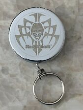 Vintage Black Biscuit Retractable Key Ring Chain Skull Tribal Hockey Belt Clip