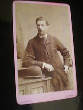 Cdv old photograph man bowler hat by Winter at Derby c1880s ref 502(a)
