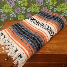 Mexican Orange Blue Woven Stripy Falsa Yoga Blanket / Throw