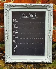 Shabby Chic Weekly Planner Chalkboard Ornate Design Memo Board, Blackboard Grey