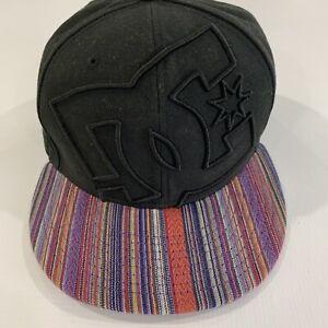 DC Shoes New Era 59 fifty Hat Flat Brim Fitted Black Hat Size 7 1/2 Cap