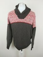 Mens Lacoste Wool Nordic Fair Isle Jumper Red Brown 4 Large 46-48 Chest