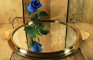 Antique French ART DECO Brass Mirrored Drinks Round Serving or Vanity Tray 1930s