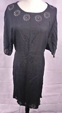 Black mirror pattern Casual Dress Size L 100% Rayon