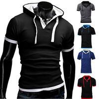 Men's Slim Fit Short Sleeve Shirts Hooded Tee Muscle Tops Hoodies Casual T-shirt
